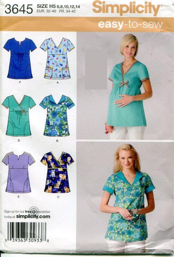 Simplicity 3645 Misses Maternity & Regular Scrubs Top Sewing Pattern ...