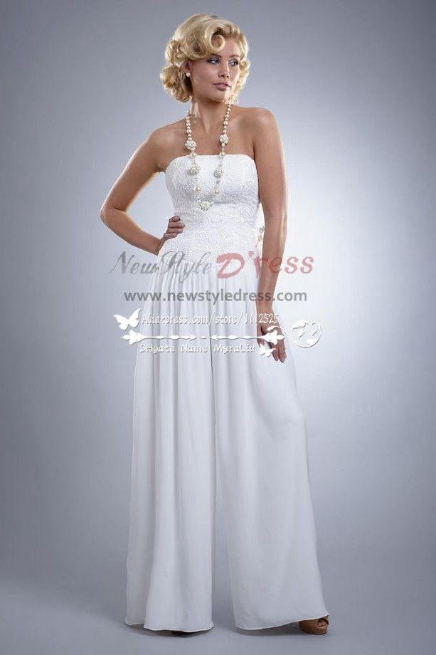 Trending Informal wedding dresses chiffon bridal jumpsuit for beach wps