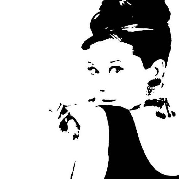 Canvas Of Audrey Hepburn Black And White - 13 x 13 inches box framed ...