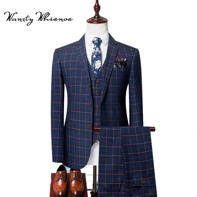 8 Pieces Set 2018 England Style Fashion Men Suit Plaid Wedding Suits For Business Tuxedos S Clothing Blazer