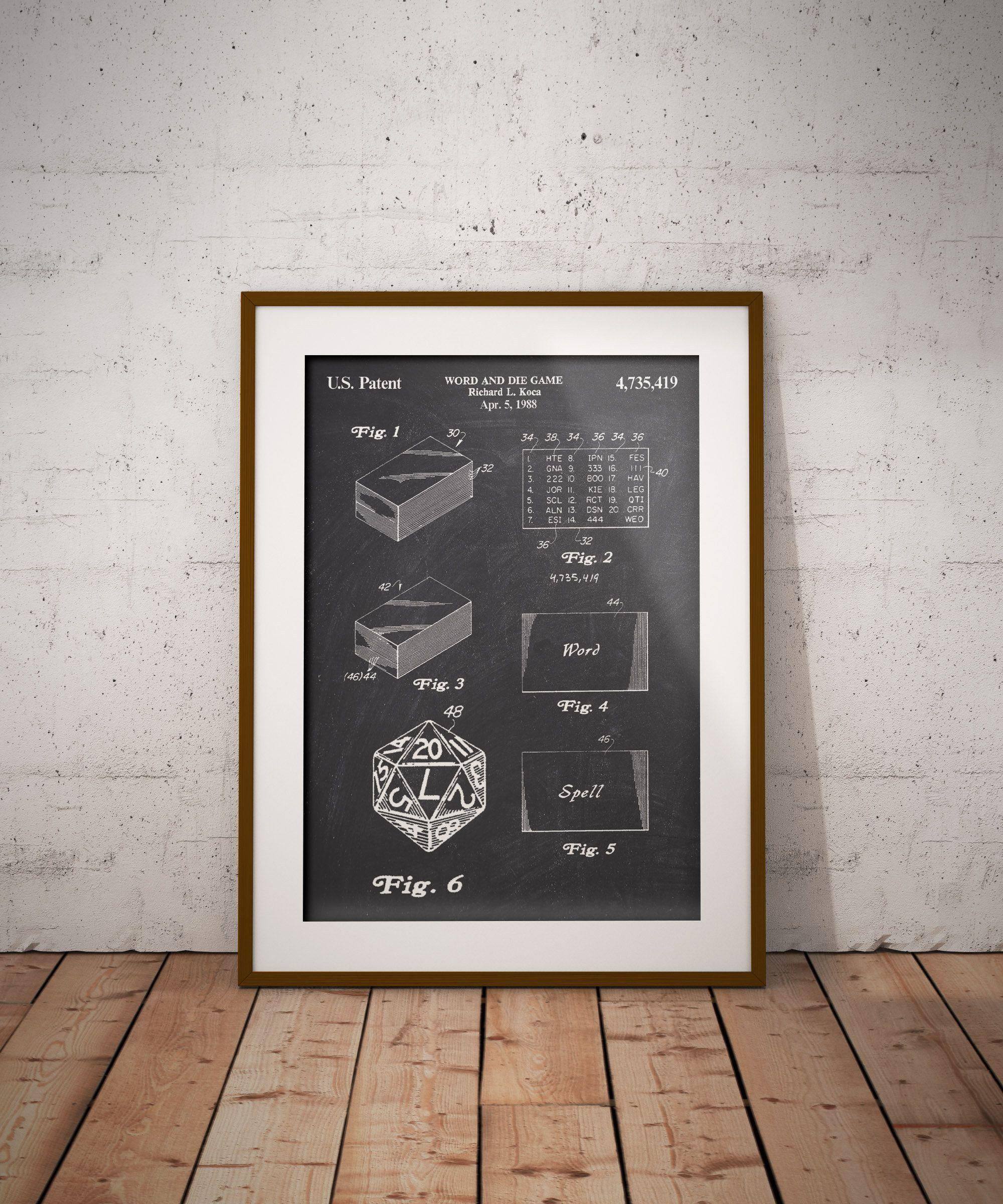 Dice Word Game Patent Print, Richard L Koca Word Dice Game
