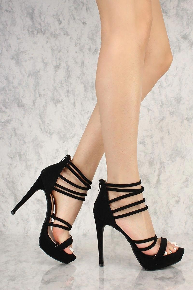 4ee0c294f730 Sexy Black Strappy Open Toe Platform High Heels Nubuck Faux Leather   Promshoes