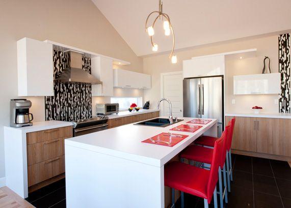cuisine contemporaine comptoir de stratifi armoire de. Black Bedroom Furniture Sets. Home Design Ideas