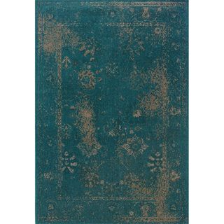 Indoor Teal Beige Area Rug