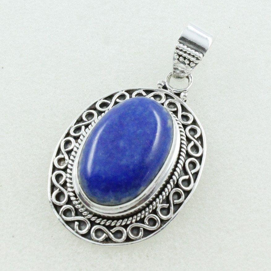 Lapis Gemstone Amazing Design 925 Sterling Silver Pendant by JaipurSilverIndia on Etsy