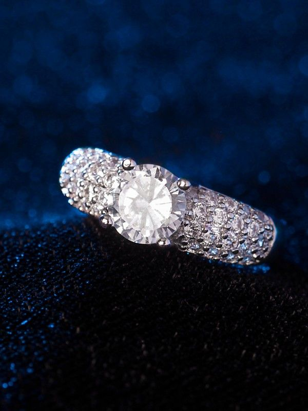Silver American Diamond Ring Silver Diamond Ring