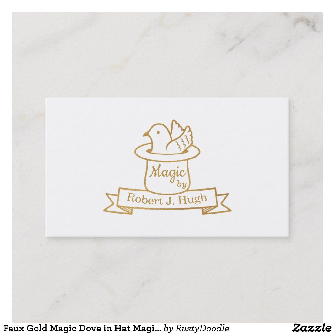 Faux Gold Magic Dove In Hat Magician Business Card Zazzle Com The Magicians Business Card Template Design Doodle Designs