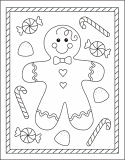 Free Christmas coloring pages gingerbread man coloring