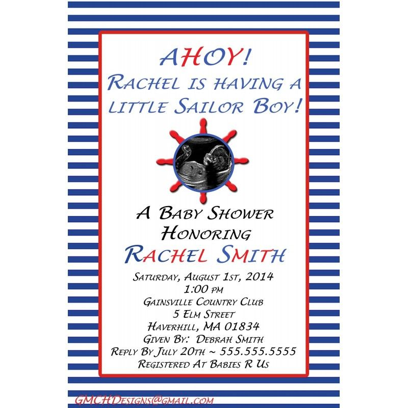 Celebrate the Mom to be with a Sailor Baby Shower Invitation ...