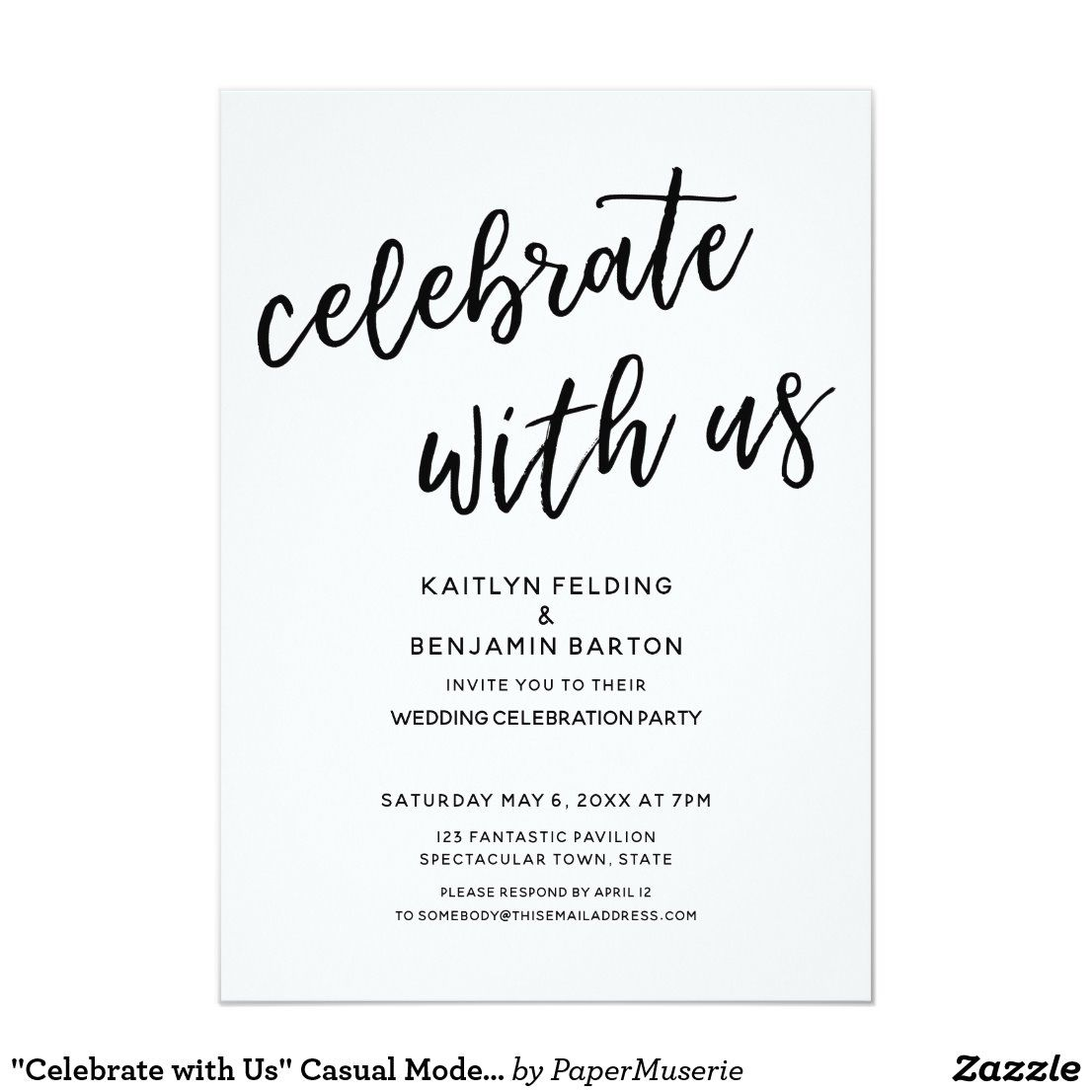 Celebrate With Us Casual Modern Wedding Party Invitation Zazzle Com Wedding Party Invites Casual Wedding Invitations Modern Wedding Invitations Templates
