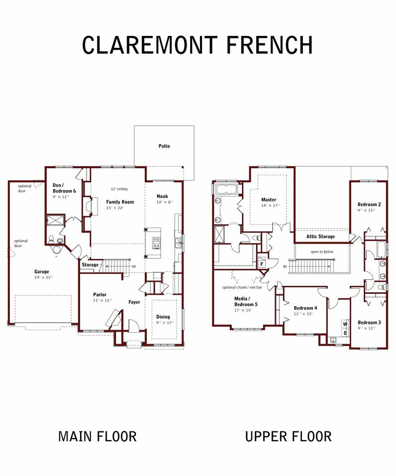 Arbor Custom Homes Claremont Floorplan Floor Plans Custom Homes Attic Storage