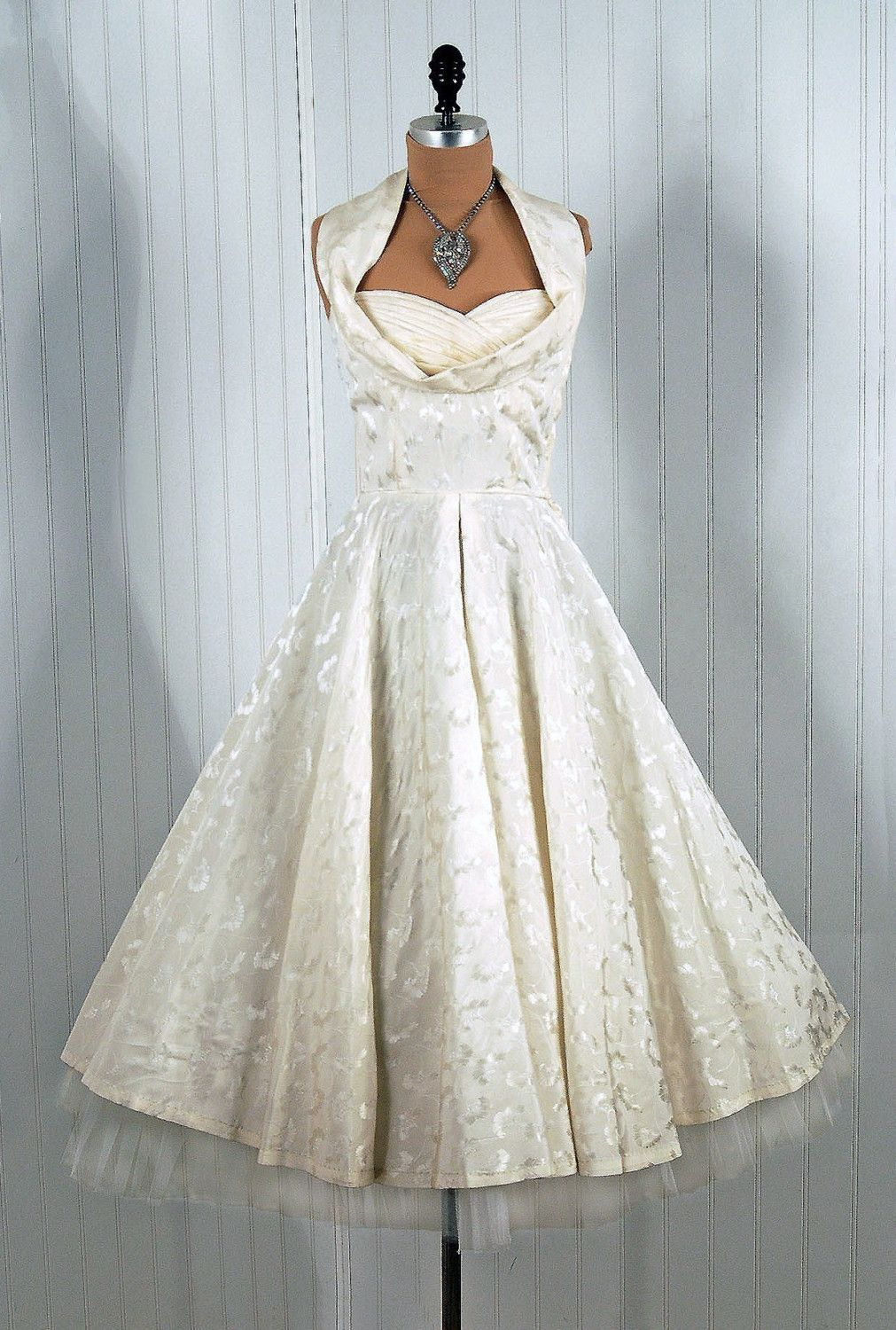 1950\'s Vintage Coquette Couture Shelf-Bust Halter White party dress ...