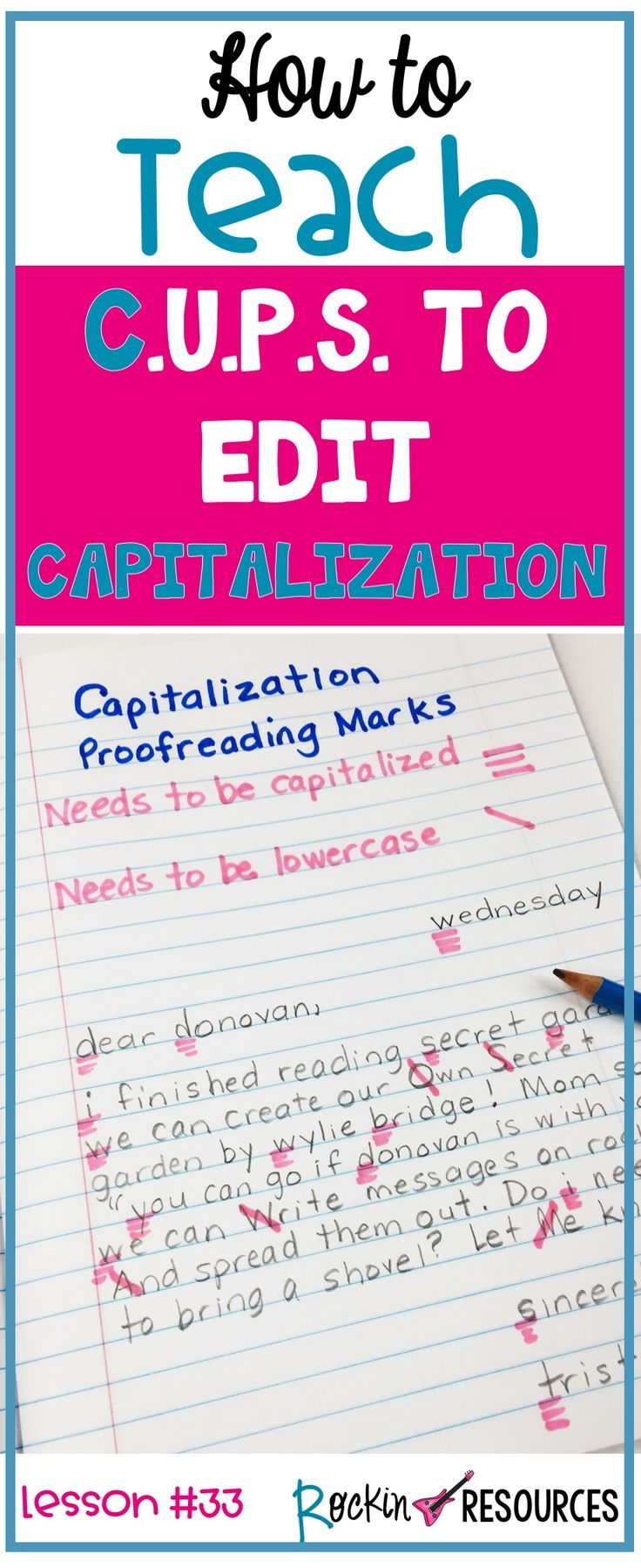 Writing Mini Lesson 33 On Capitalization Punctuation Curriculum