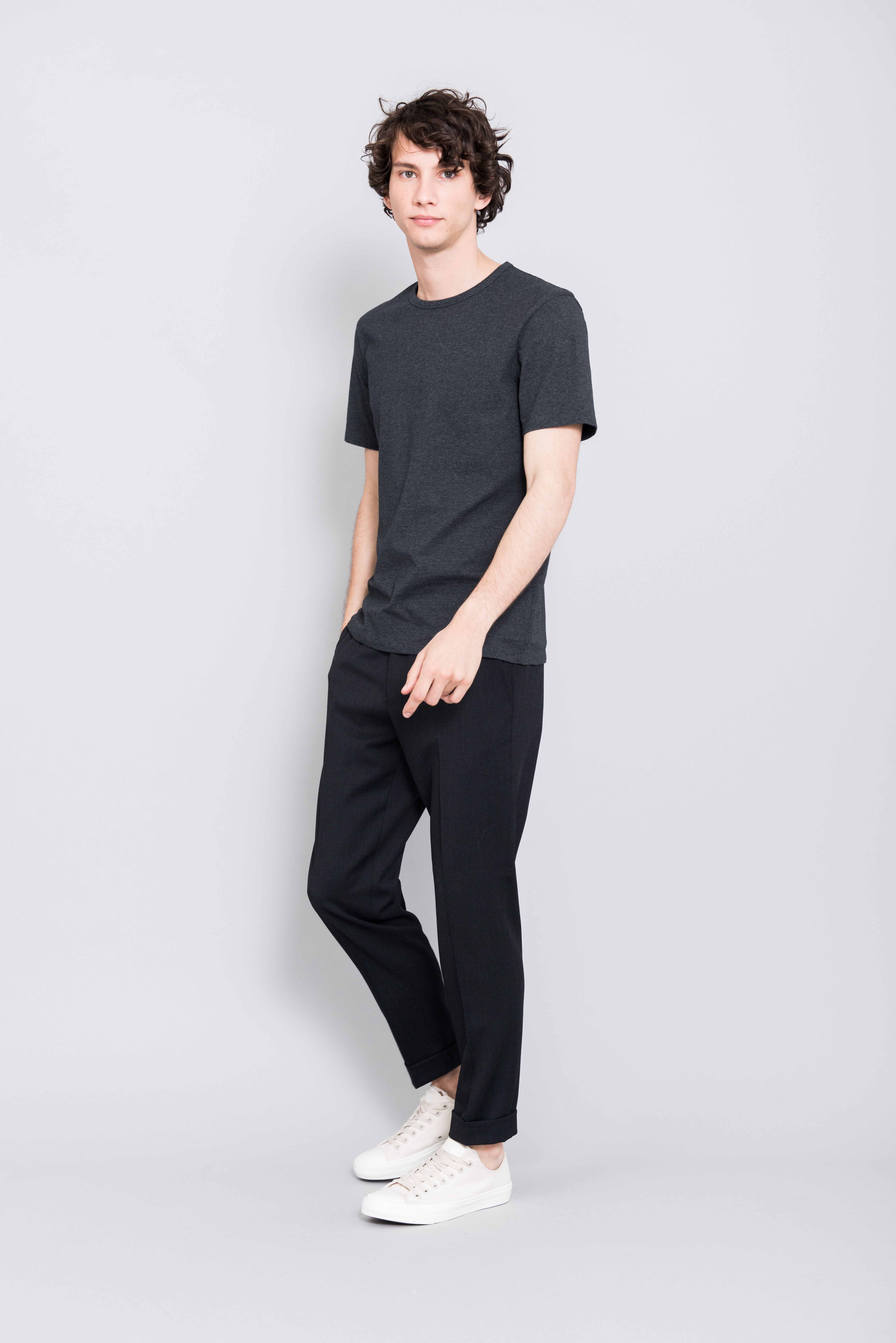 Danny zuko black t shirt - The Asket T Shirt In Charcoal Melange Asket