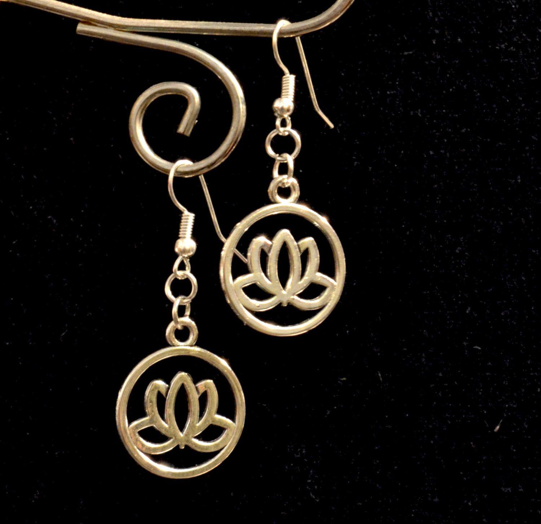 Lotus Earrings, Lotus Flower Silver Earrings, Drop, Dangle Earrings (E99) by LKArtChic on Etsy