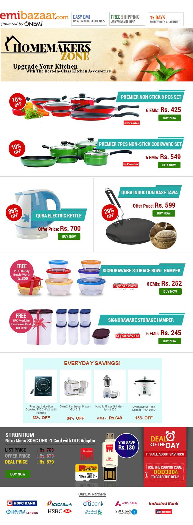 Homemakers Zone! Up to 36% OFF + Fabulous FREEBIES on Best-in-Class Kitchen Accessories! Emibazaar.com