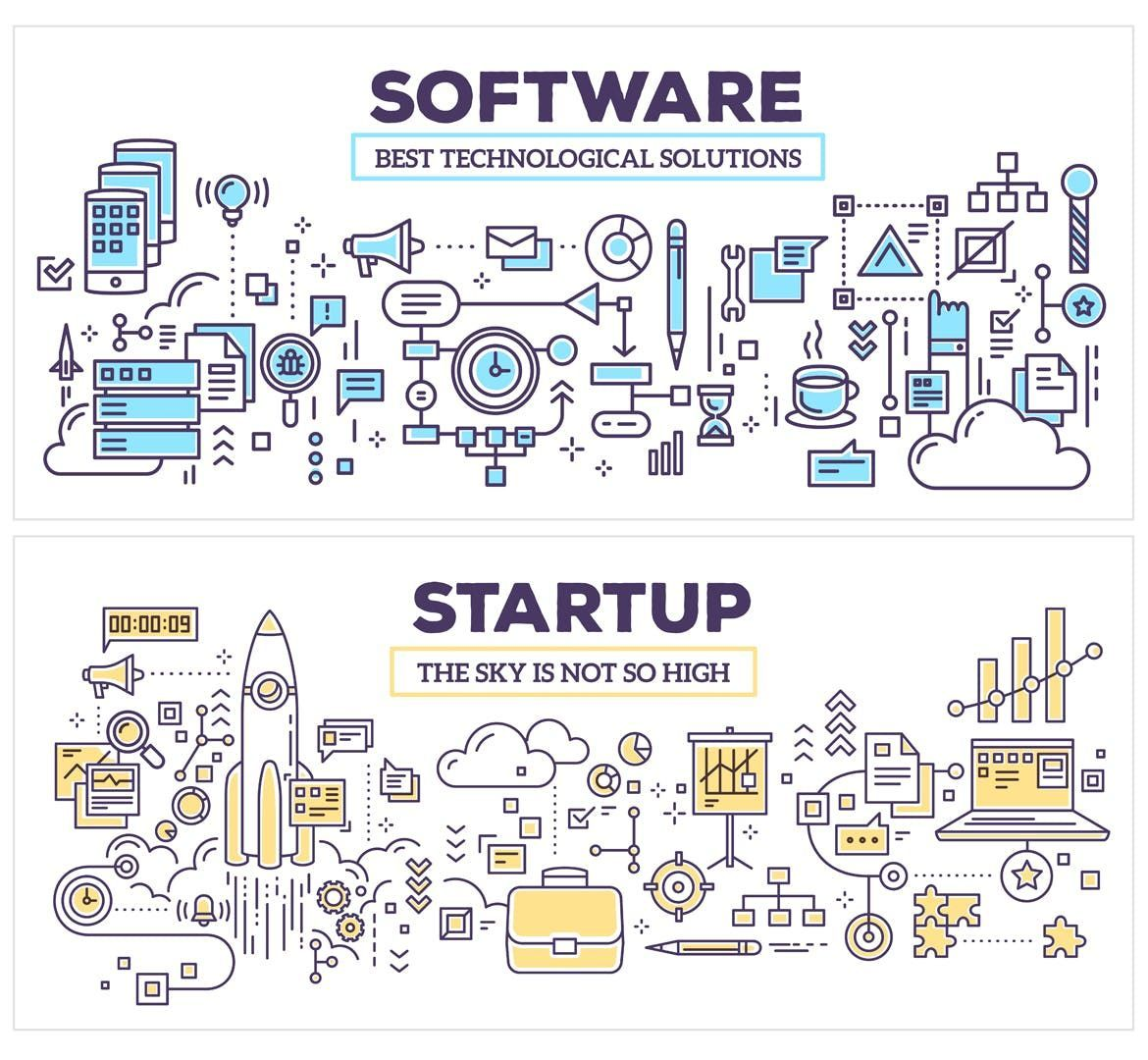 Collection of business, technology illustrations by