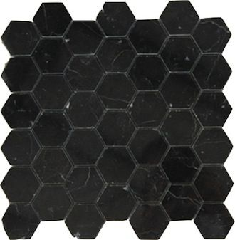 11 45sf Premium Nero Marquina Black Marble Hexagon Mosaic Tile