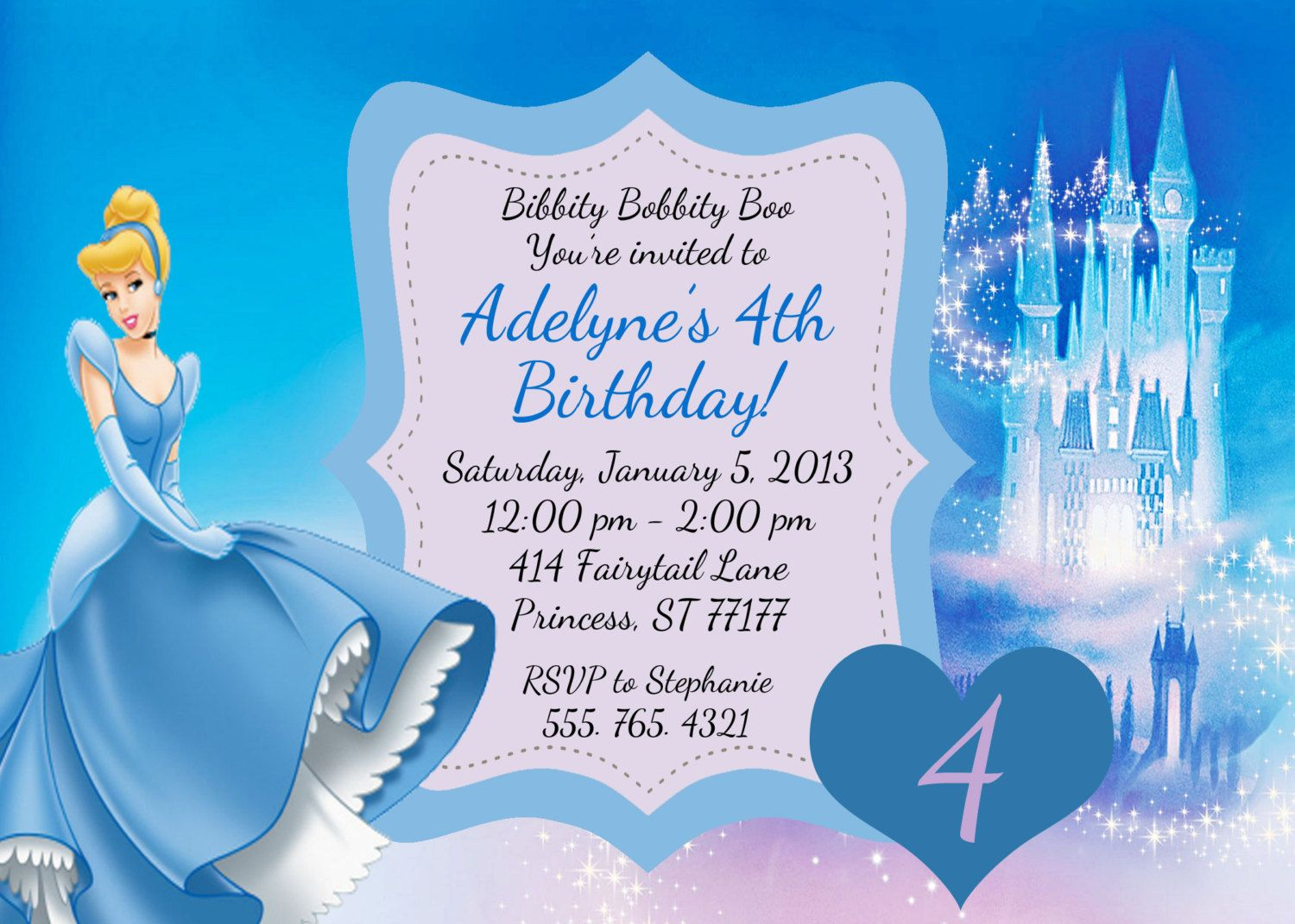 Create Easy Cinderella Birthday Invitations Printable – Cinderella Birthday Card