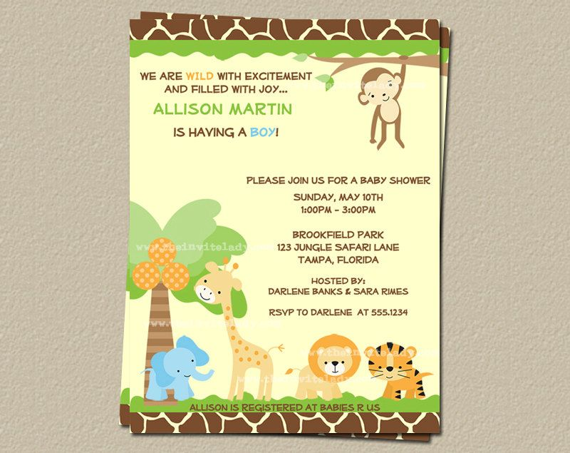 Jungle Baby Shower Invitations Safari Animals Gender Neutral