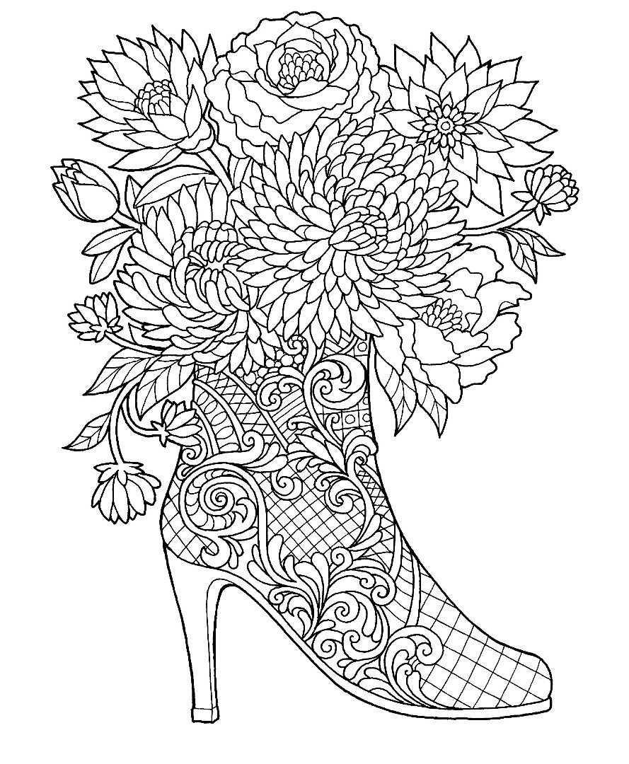 High Heel Boot With Flowers Coloring Page Colors Of The Decades
