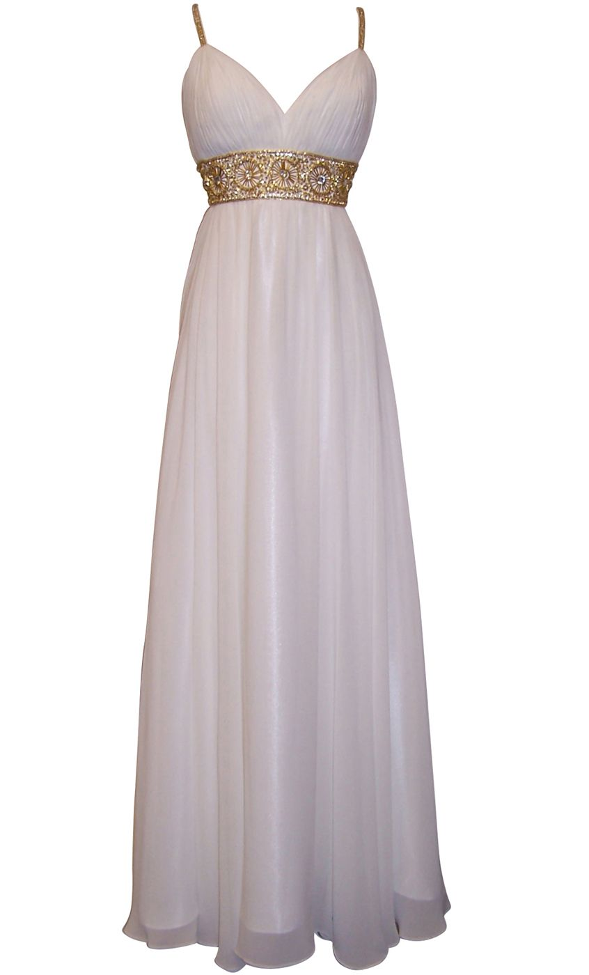Egyptian wedding dresses  Greek Goddess Chiffon Starburst Beaded Full Length Gown Prom Dress