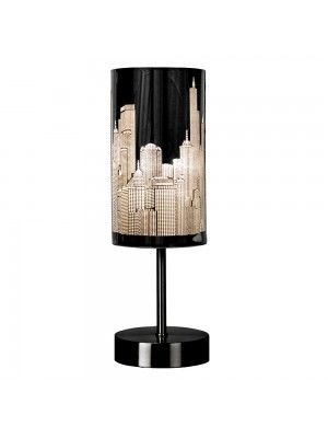 Chrome Touch Table Lamp with New York