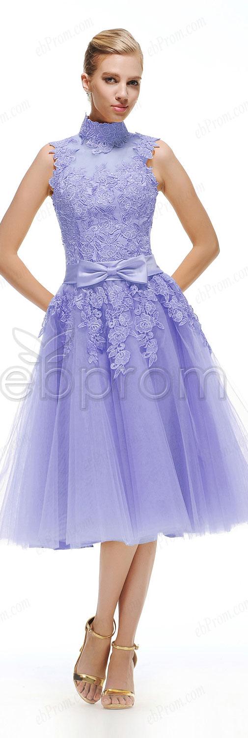 High neck lavender homecoming dresses tea length ball goan prom ...