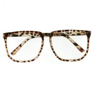 Animal Print Geeky Clear Lens Oversize Glasses
