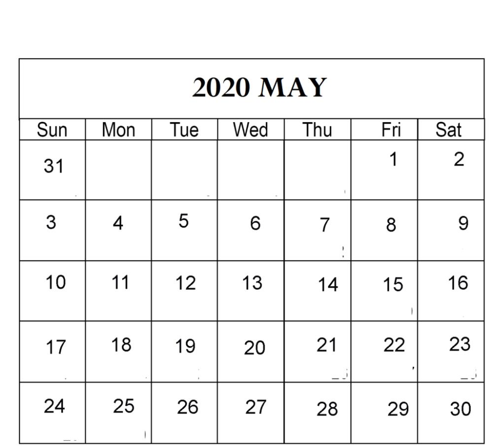 Free May 2020 Calendar Printable Sheets
