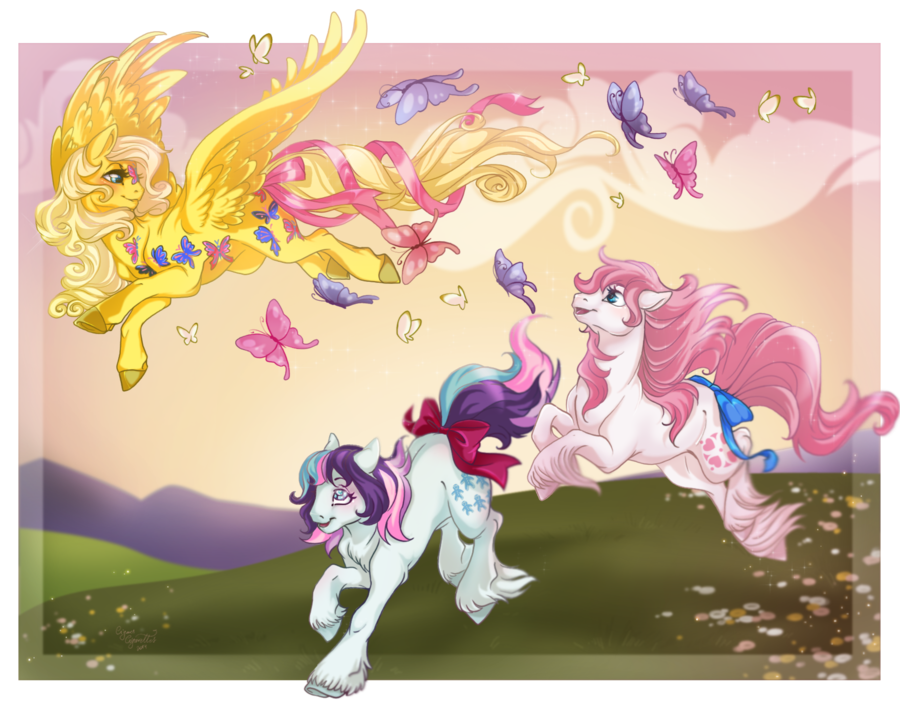 Dancing Butterlies, Sparkler and Sundance G1 My Little Pony May all your days be bright by CigarsCigarettes.deviantart.com on @DeviantArt