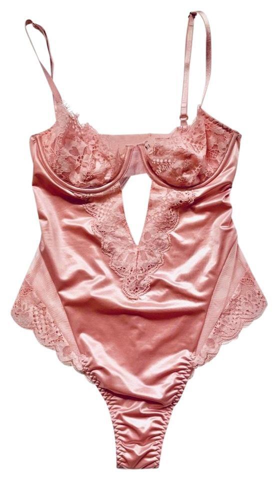 Sz M Vintage Victorias Secret Gold Label Semi Sheer Black Chiffon Velvet Lingerie Teddy Bodysuit