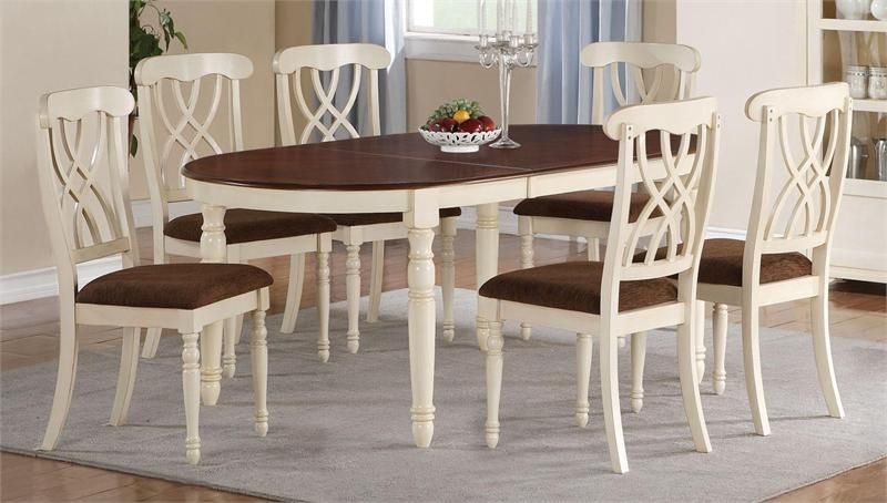 Mccall Dark Cherry Buttermilk Oval Kitchen Table Set Oval Table Dining French Country Dining Room Cottage Style Dining Room