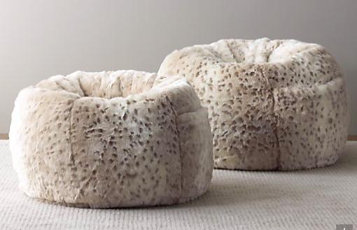 77390df83ebd Snow leopard faux fur bean bag