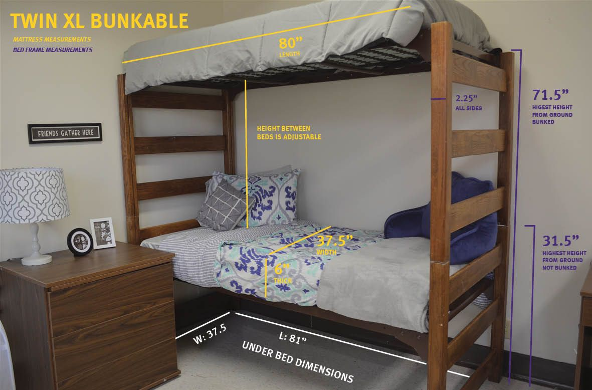Measurements For A Twin Xl Bunkable Bed Dorm Room Bedding Bed