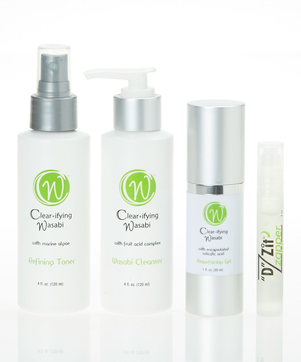 Wasabi Japonica Root is an anti-bacterial ingredient, combined with our encapsulated salicylic acid (willow bark extract) which helps to exfoliate, keeping the sebum flowing and follicle open.  The cleanser, resurfacing gel, & refining toner work synergistically to keep acne under control and the spot treatment Zapper is specifically for spot areas only - See more at: http://www.dermamdskincare.com/collections/acne#sthash.DsEzkRmH.dpuf