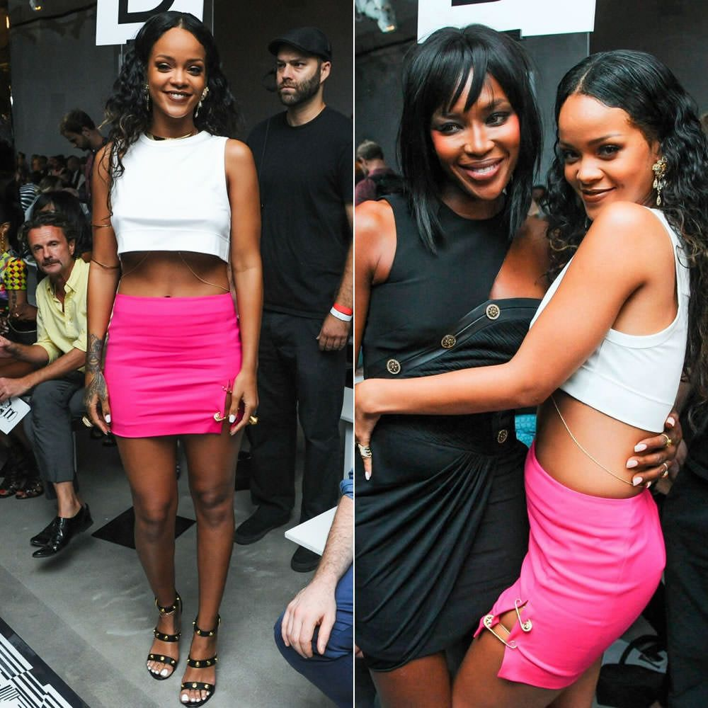 Rihanna At Versus Versace Spring Summer 2015 Fashion Show Wearing Versus Pink Skirt With Safety