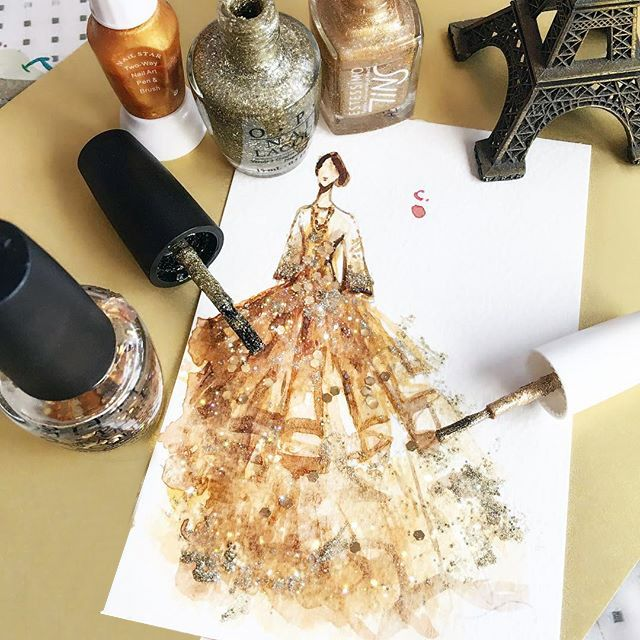 Nail polish is no longer limited to fingers and toes. Chan Clayrene of Artclaytion uses nail polishes, matte and sparkly alike, as the ink for her glamorous illustrations of haute couture gowns.