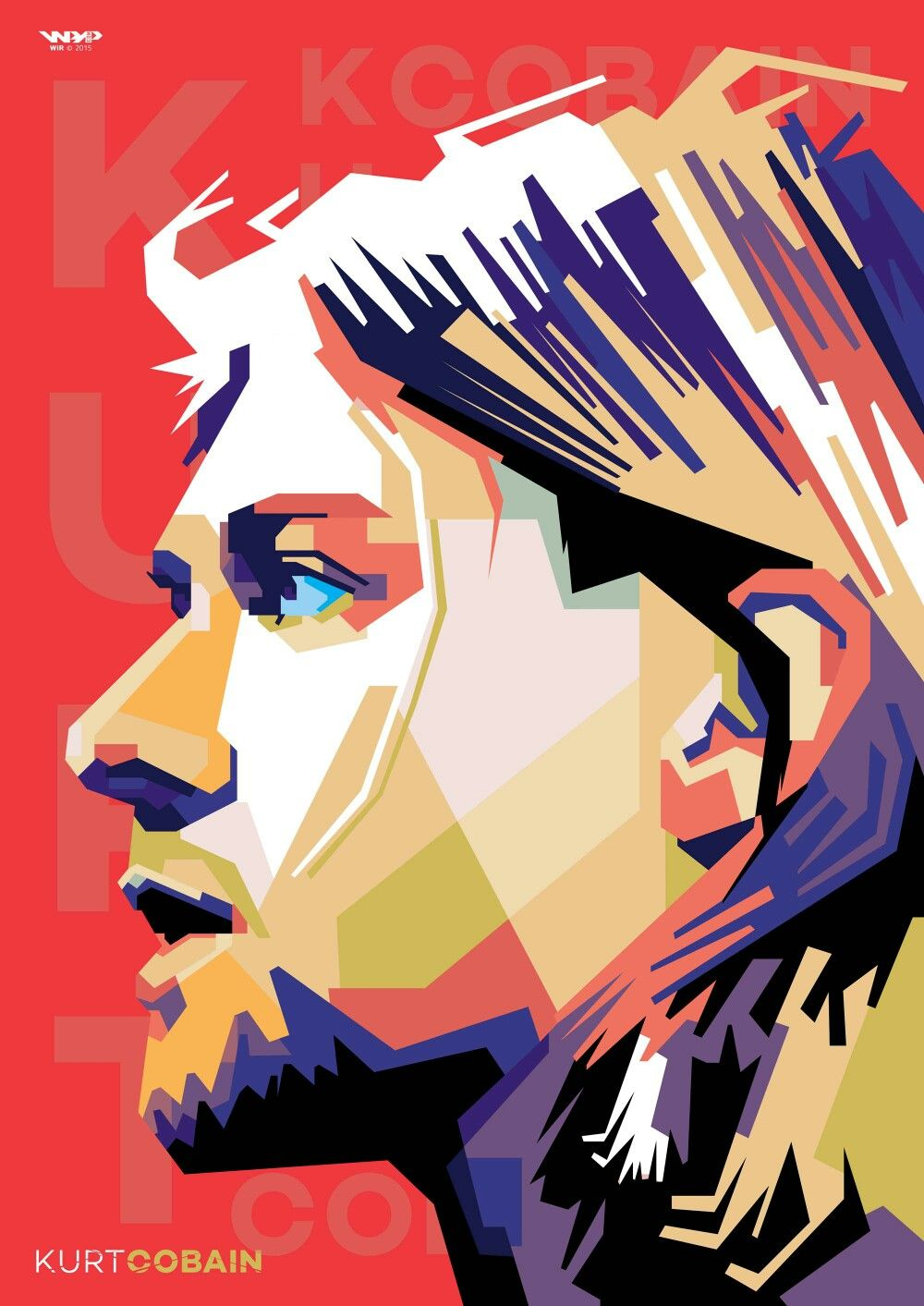 Kurt Cobain Vocalist of Nirvana In Wedha\'s Popart Portrait by Wir ...