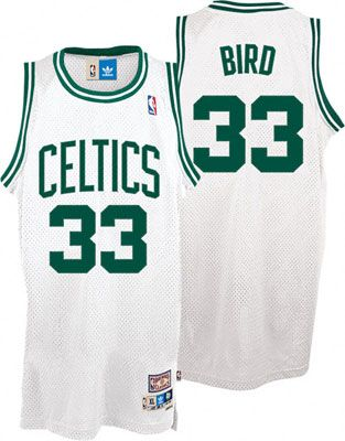 4685cba5 Boston Celtics Merchandise, Celtics Apparel, Gear. White and green Larry  Bird Boston Celtics jersey