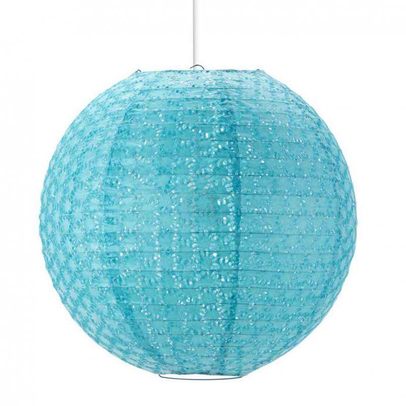 Suspension boule en papier ajouré bleu diamètre 35cm CIEUX