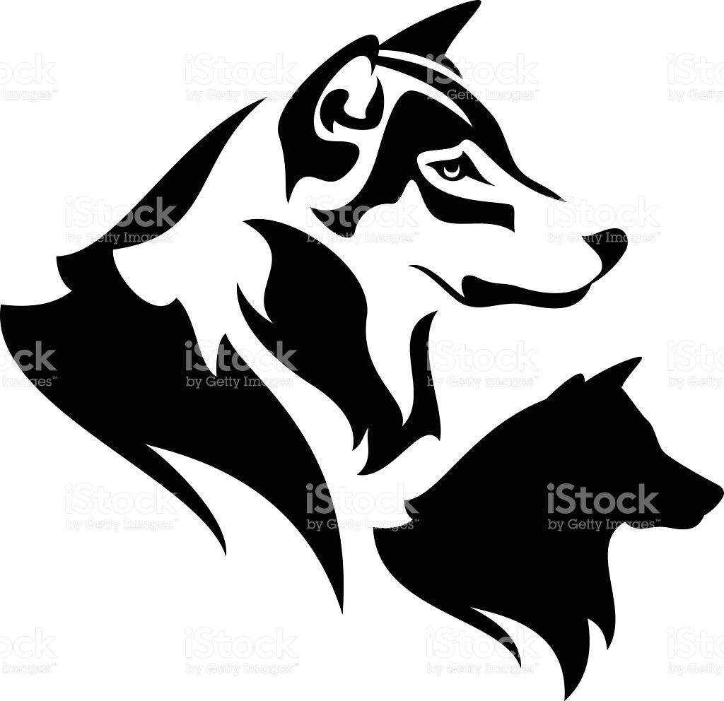 Wolf Profile Black And White Outline And Silhouette Dog Tattoos Dog Outline Wolf Silhouette