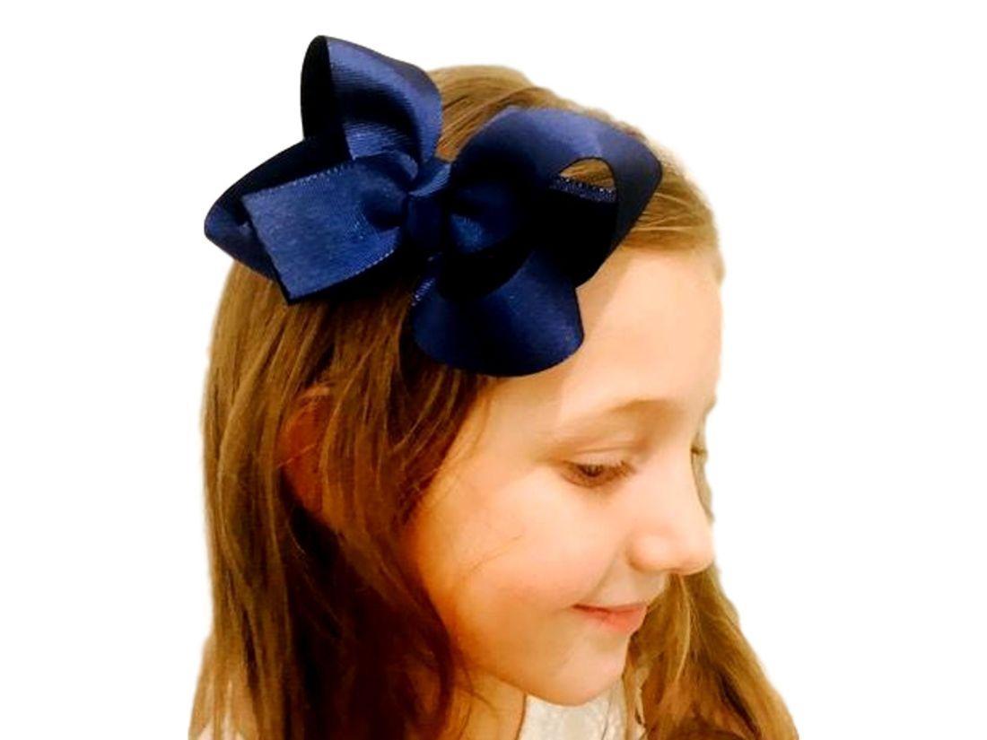 Laço de Cabelo Garota do Laço Clássico Gorgurão Azul Marinho com Bico de  Pato c8550752de8