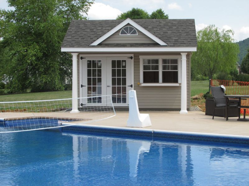 Victorian pool houses amish mike amish sheds amish for Pool shed with bar plans