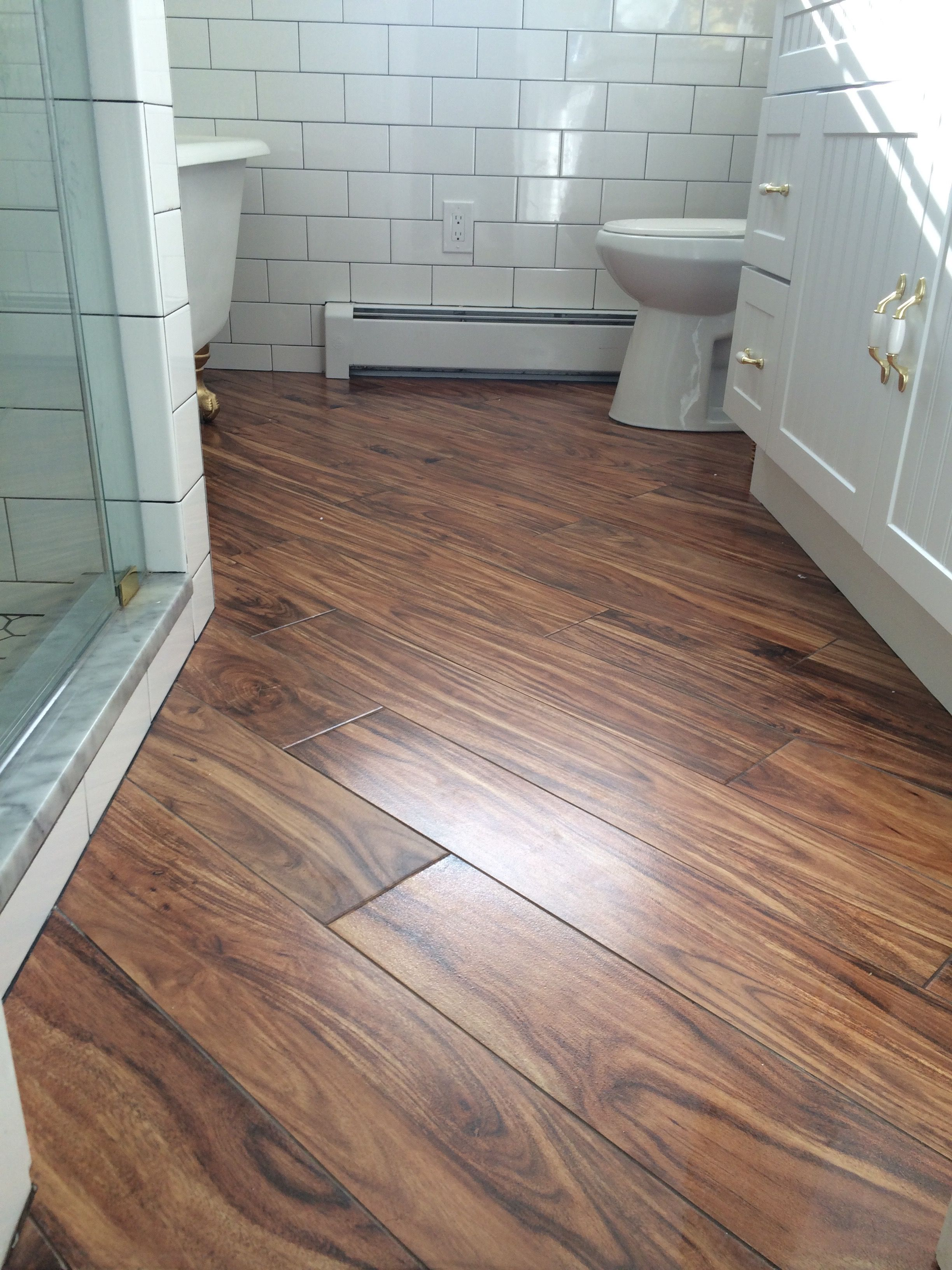 Farmhouse Bathroom Porcelain Wood Tile On A Diagonal