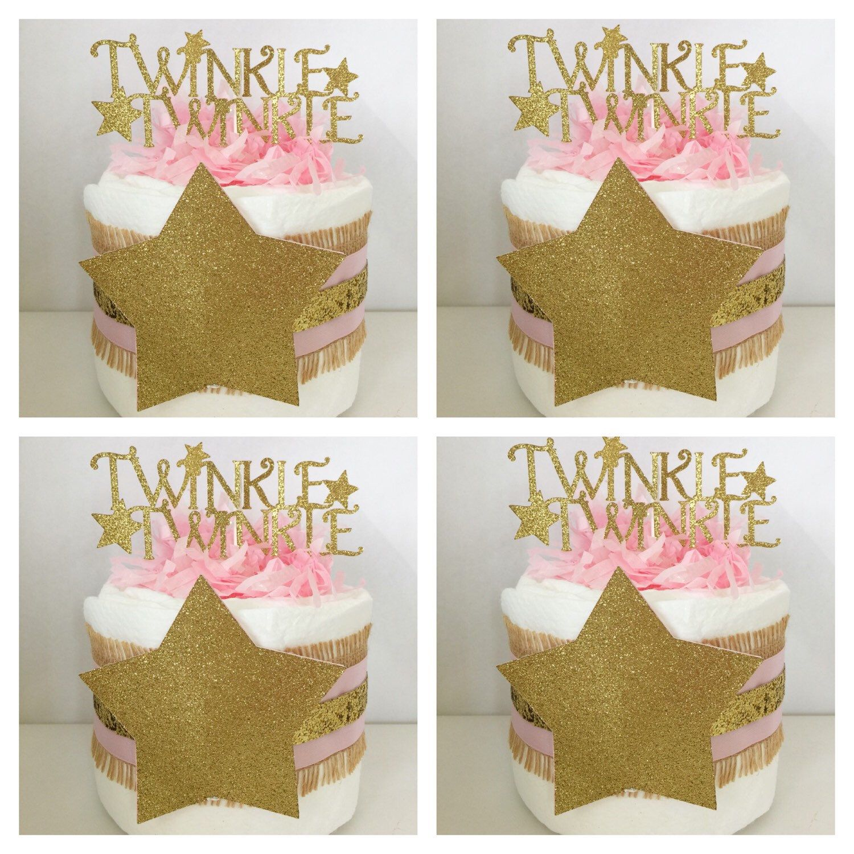 Set Of 4 Twinkle Twinkle Little Star Mini Diaper Cakes,