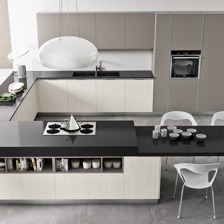 cucina moderna con penisola angolo nel nostro negozio a
