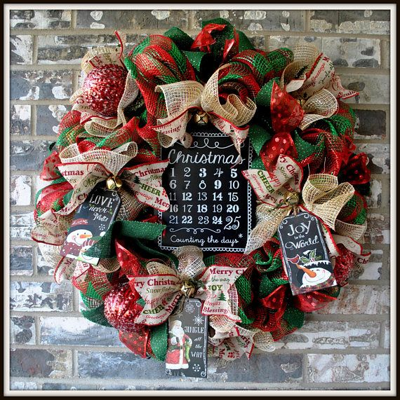 Countdown to Christmas Deco Mesh Deluxe Christmas Wreath Christmas - christmas wreath decorations
