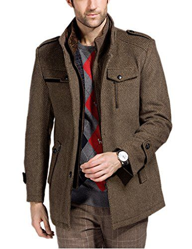 Match Mens Wool Classic Pea Coat Winter Coat(8820-Coffee,US XS ...
