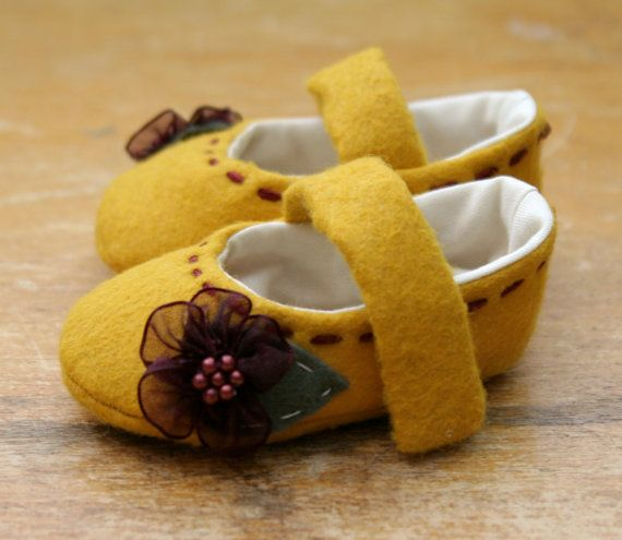 Yellow Wool and Purple Flowers Baby Girl Shoes  by TillyWhistle